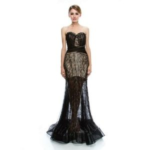 New Black Lace Bead Formal Dress Strapless S M